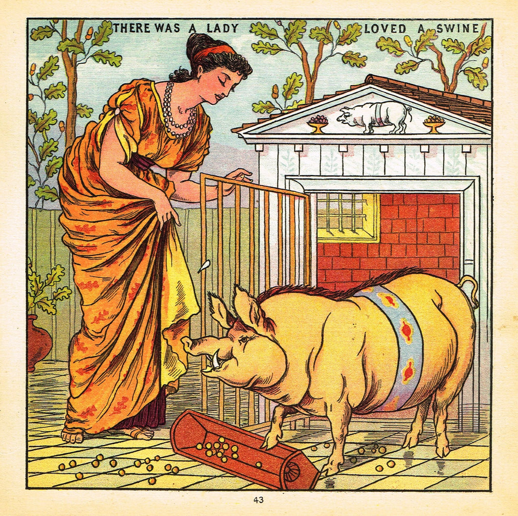 "Walter Crane Baby's Opera - ""THERE WAS A LADY LOVED A SWINE"" - Children's Lithogrpah - 1870"