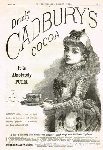 "Antique Magazine Advertising -  ""CADBURY'S COCOA"" - Ephemera - 1889"