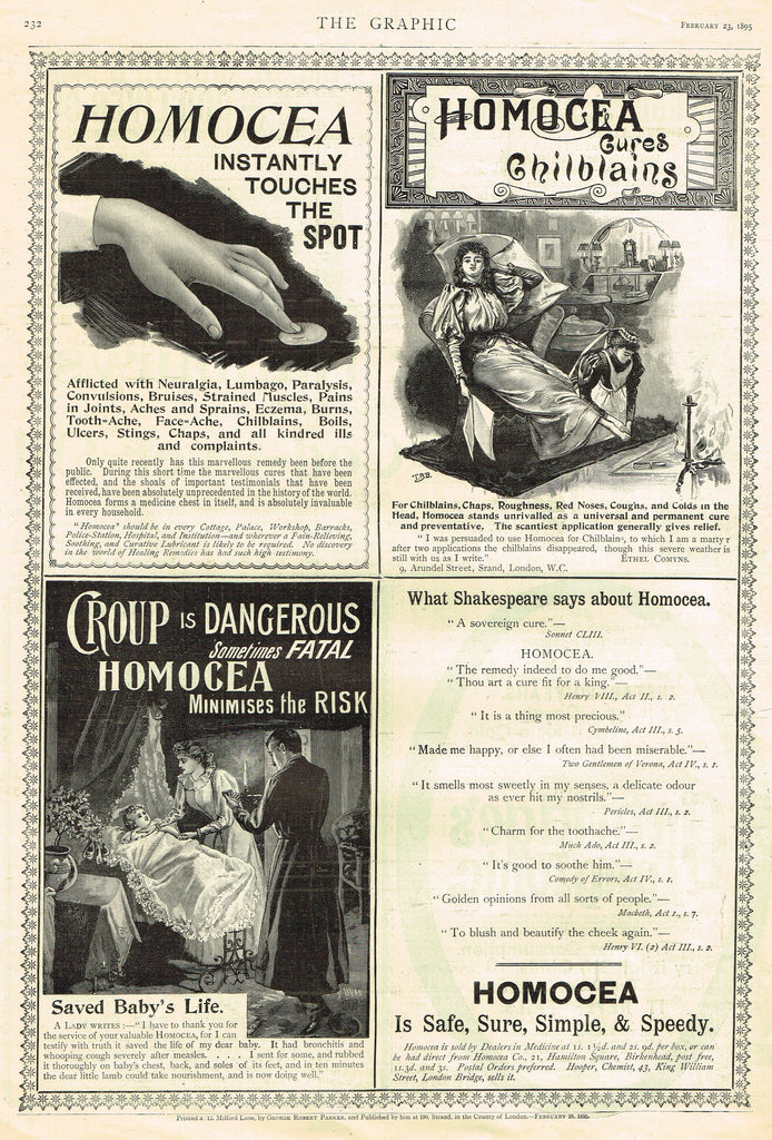 "Antique Magazine Advertising -  ""HOMOCEA"" - Ephemera - 1895"