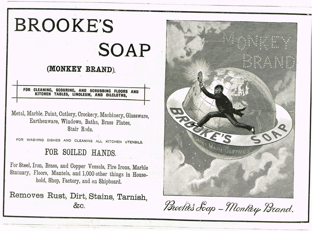 "Antique Magazine Advertisment -  ""BROOKE'S SOAP - MONKEY BRAND"" - Ephemera - 1894"