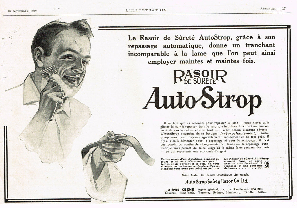 "Antique Magazine Advertisment -  ""AUTO STROP RASOIR"" - Ephemera - 1912"