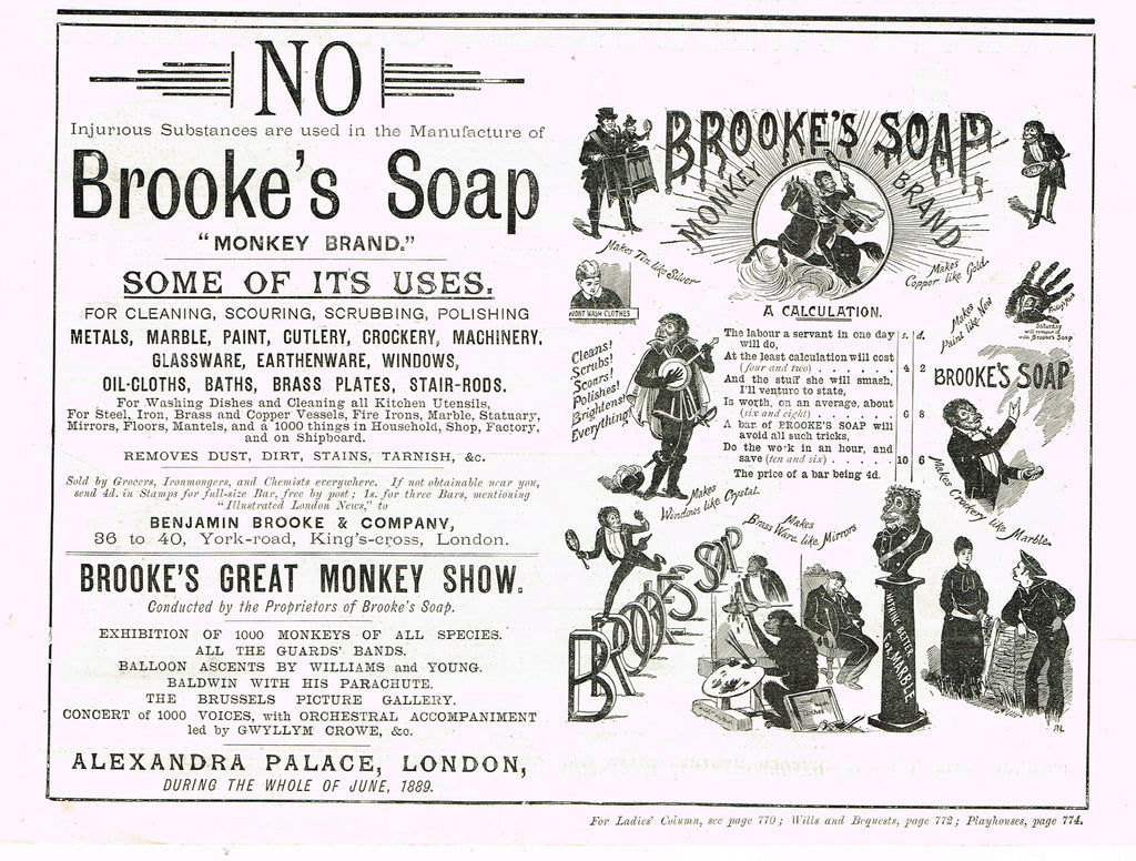 "Antique Magazine Advertisment -  ""USES OF BROOK'S SOAP"" - Ephemera - c1890"