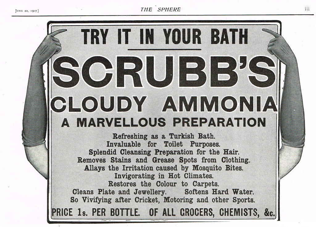 "Antique Magazine Advertisment -  ""SCRUBB'S AMMONIA"" - Ephemera - 1907"