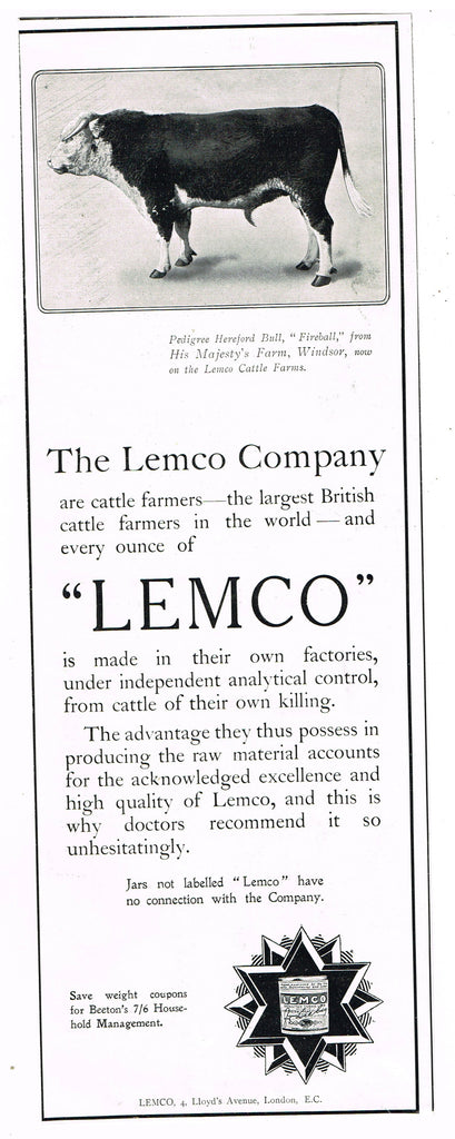 "Antique Magazine Advertisment -  ""THE LEMCO COMPANY"" - Ephemera - c1900"