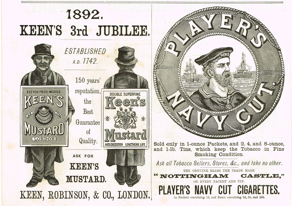 "Antique Magazine Advertisment -  ""PLAYER'S NAVY CUT"" - Ephemera - 1892"