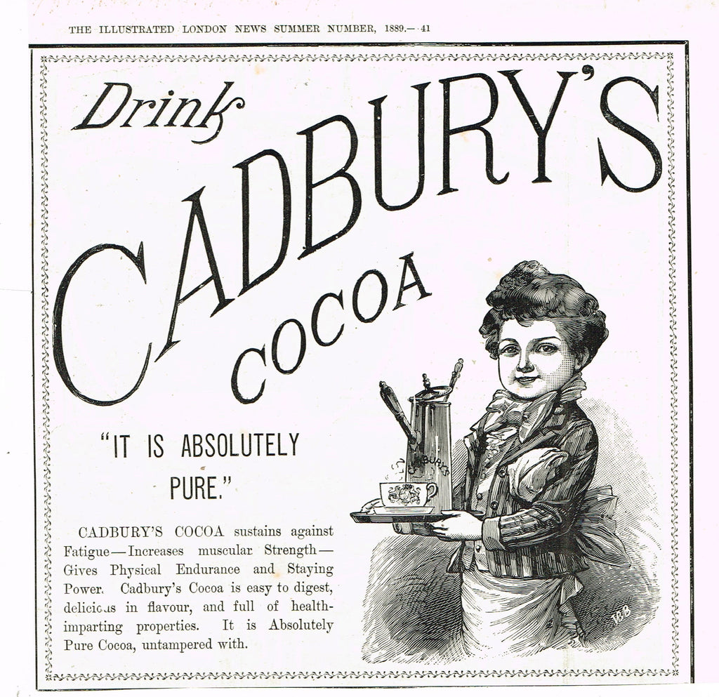 "Antique Magazine Advertisment -  ""CADBURY'S COCOA"" - Ephemera - 1889"