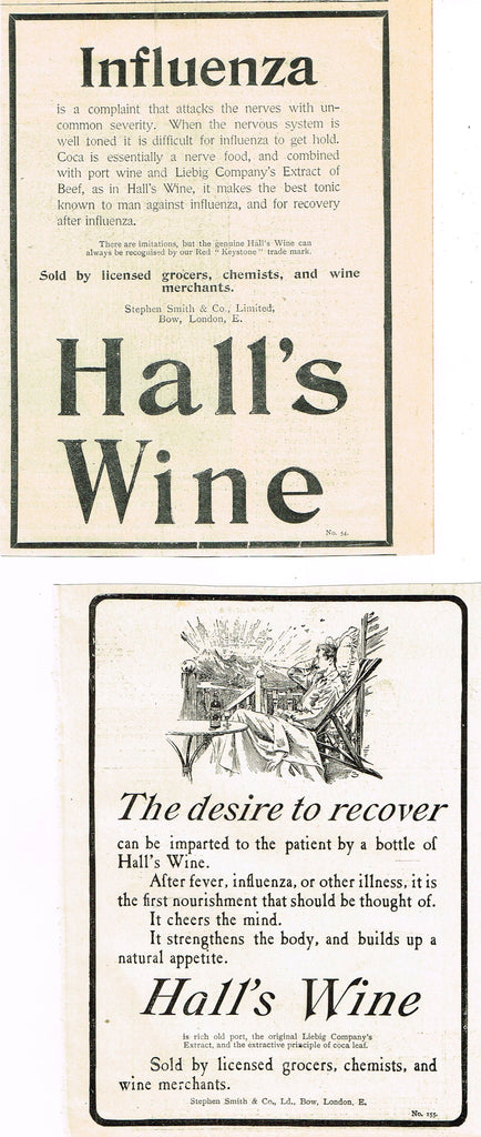 "Antique Magazine Advertisment -  ""HALL'S WINE"" 2 ADS - Ephemera - c1900"