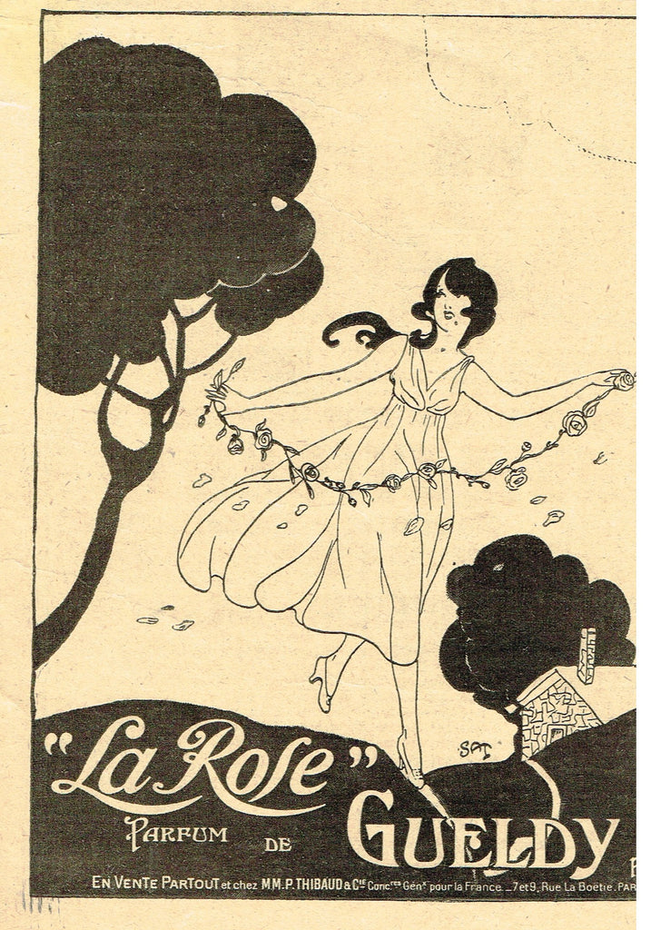 "Antique Magazine Advertisment -  ""LA ROSE PARFUM DE GUELDY"" - Ephemera - c1890"