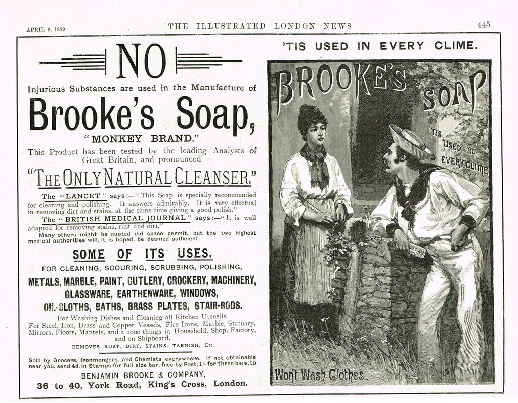 "Antique Magazine Advertisment -  ""MONKEY BRAND SOAP"" - Ephemera - 1889"