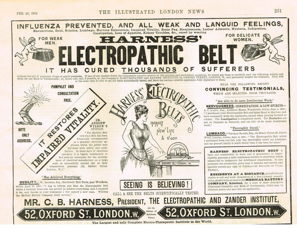 "Antique Magazine Advertisment -  ""HARNESS' BELT"" - Ephemera - 1892"
