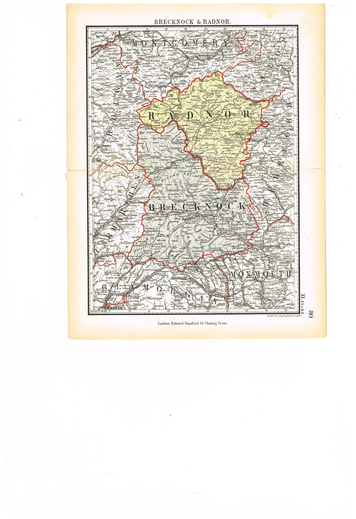 "Stanford's G.B. County Map - ""BRECKNOCK & RADNOR"" - Chromo - 1885"