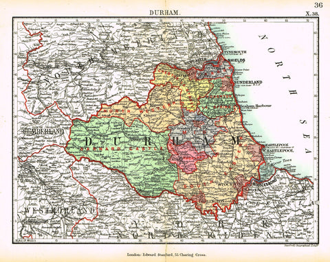 "Stanford's G.B. County Map - ""DURHAM"" - Chromo - 1885"