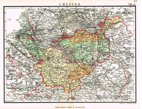 "Stanford's G.B. County Map - ""CHESTER"" - Chromo - 1885"