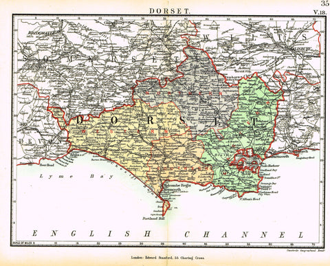 "Stanford's G.B. County Map - ""DORSET"" - Chromo - 1885"