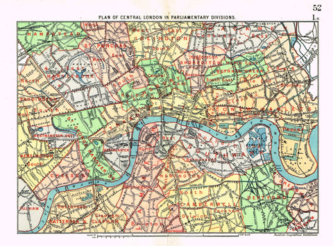 "Stanford's G.B. County Map - ""CENTRAL LONDON"" - Chromo - 1885"