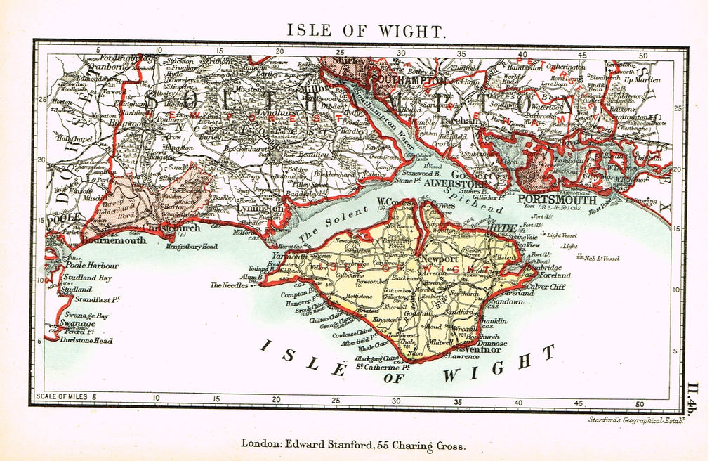 "Stanford's G.B. County Map - ""ISLE OF WIGHT"" - Chromo - 1885"