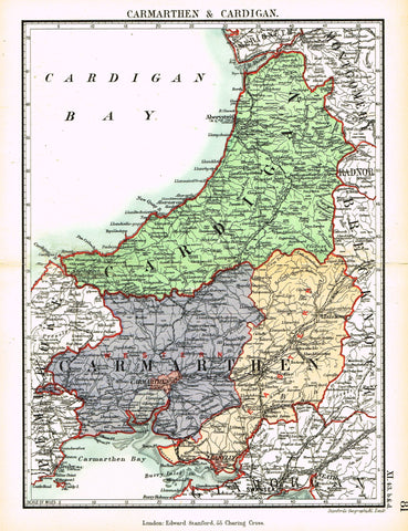 "Stanford's G.B. County Map - ""CARMARTHEN & CARDIGAN"" - 1885"