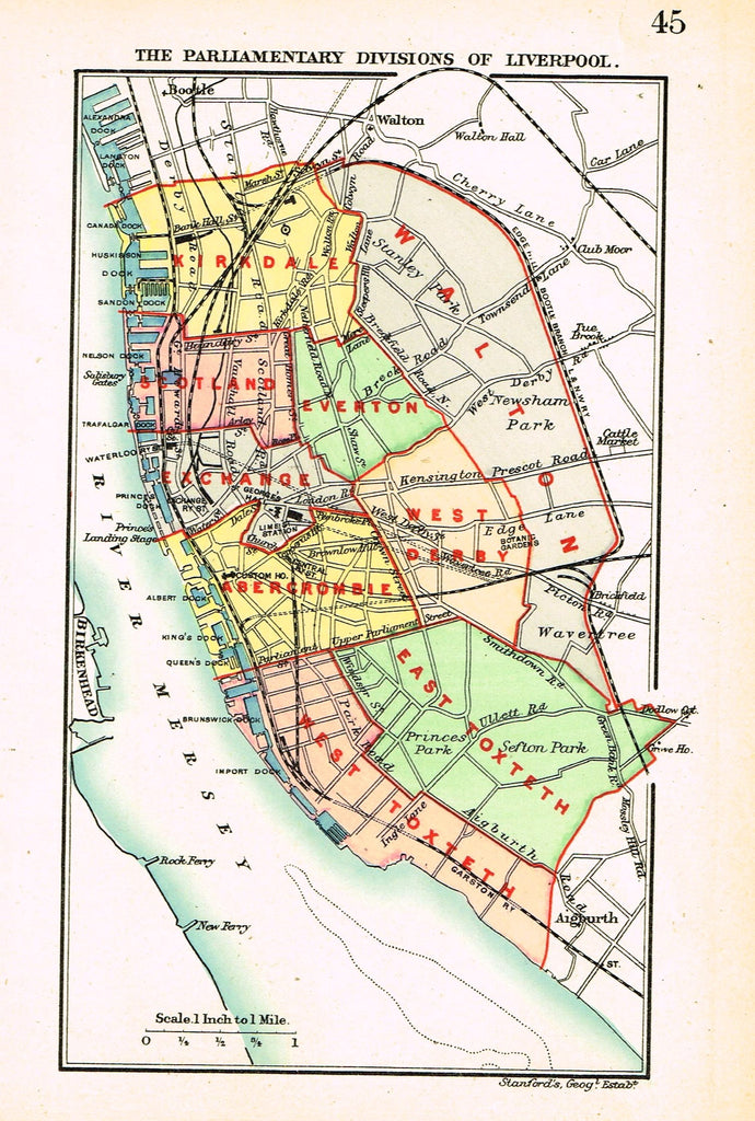 "Stanford's G.B. County Map - ""LIVERPOOL"" - Chromo - 1885"