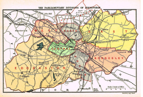 "Stanford's G.B. County Map - ""BIRMINGHAM"" - Chromo - 1885"