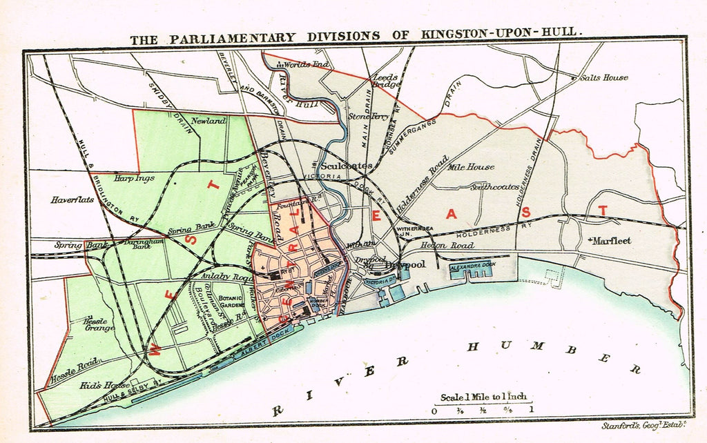 "Stanford's G.B. County Map - ""KINGSTON-UPON-HULL"" - Chromo - 1885"