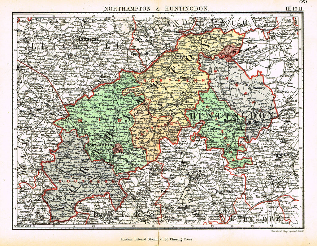 "Stanford's G.B. County Map - ""NORTHAMPTON & HUNTINGTON"" - Chromo - 1885"