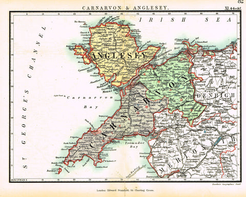 "Stanford's G.B. County Map - ""CARNARVON & ANGLESEY"" - Chromo - 1885"