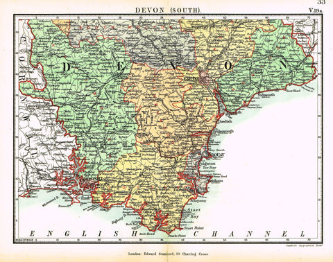 "Stanford's G.B. County Map - ""DEVON (SOUTH)"" - Chromo - 1885"