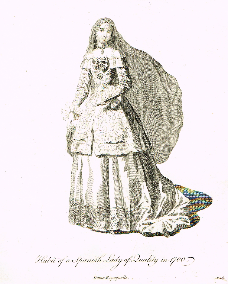 "Jefferys' Collection of Dresses -""HABIT OF SPANISH LADY IN 1700"" - 1757"