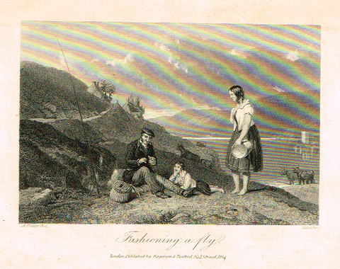 "Sporting Magazine - ""FASHIONING A FLY"" (FLY FISHING) - Engraving - c1865"