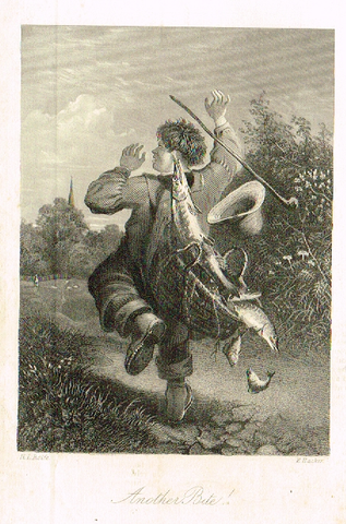 "Sporting Magazine - ""ANOTHER BITE"" (FISHING) - Engraving - c1865"