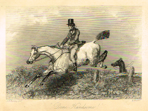 "Sporting Magazine - ""DONE HANDSOME"" (RIDING) - Engraving - c1865"