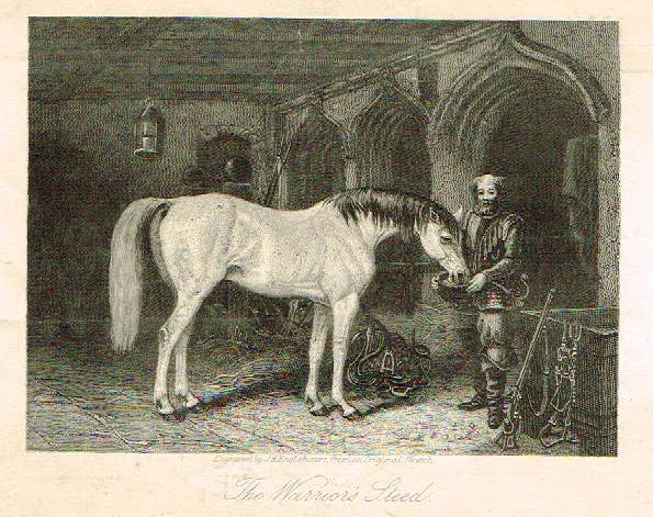"Sporting Magazine - ""THE WARRIOR'S STEED"" (HORSES) - Engraving - c1865"