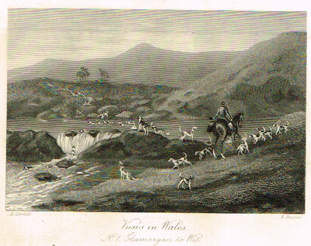 "Sporting Magazine - ""VIEWS IN WALES""  (FOX HUNTING) - Engraving - c1865"