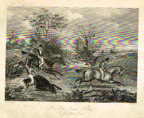"Sporting Magazine - ""A MILE FROM HOME""  (FOX HUNTING) - Engraving - c1865"
