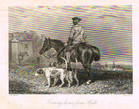 "Sporting Magazine - ""COMING HOME FROM WALK""  (FOX HUNTING) - Engraving - c1865"