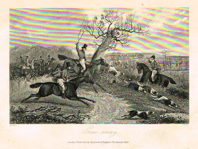 "Sporting Magazine - ""GONE AWAY""  (FOX HUNTING) - Engraving - c1865"