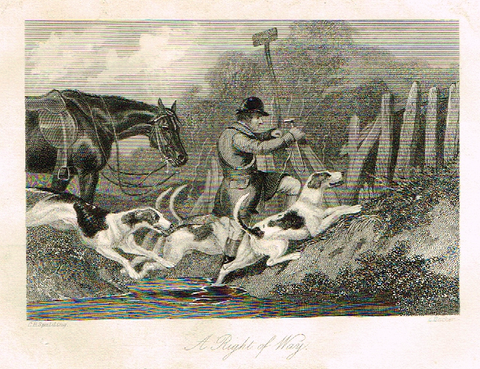"Sporting Magazine - ""A RIGHT OF WAY""  (FOX HUNTING) - Engraving - c1865"