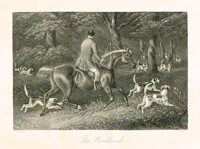 "Sporting Magazine - ""THE WOODLANDS""  (FOX HUNTING) - Engraving - c1865"