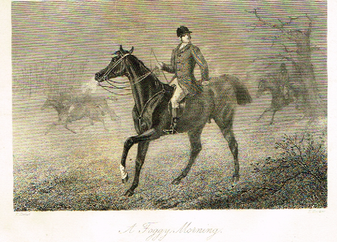 "Sporting Magazine - ""A FOGGY MORNING""  (FOX HUNTING) - Engraving - c1865"