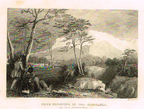 "Sporting Magazine - ""DEER SHOOTING""  (HUNTING) - Engraving - c1865"