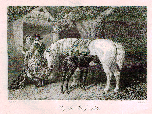 "Sporting Magazine - ""BY THE WAY SIDE""  (HORSES) - Engraving - c1865"