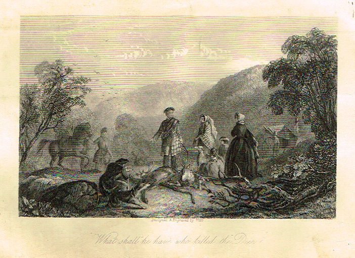 "Sporting Magazine - ""WHAT SHALL HE HAVE WHO KILLED THE DEER""  (HUNTING) - Engraving - c1865"