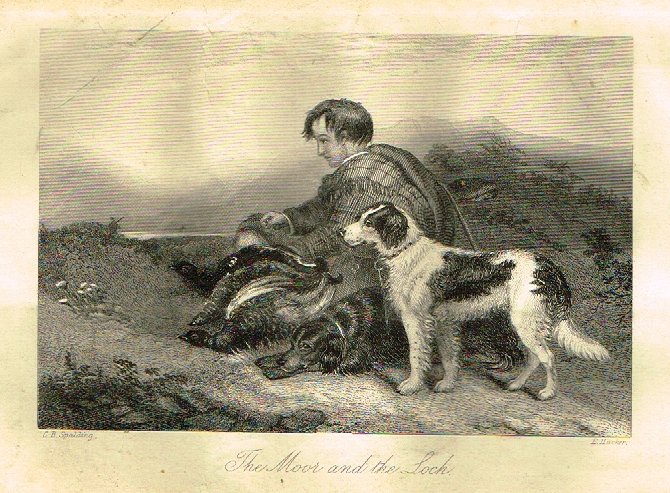 "Sporting Magazine - ""THE MOOR AND THE LOCH""  (HUNTING) - Engraving - c1865"