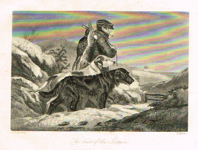 "Sporting Magazine - ""THE LAST OF THE SEASON""  (HUNTING) - Engraving - c1865"