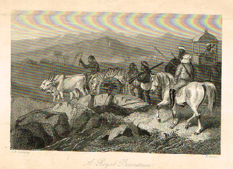 "Sporting Magazine - ""A ROYAL PROCESSION""  (HUNTING) - Engraving - c1865"