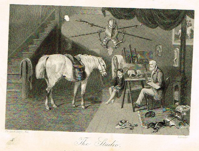 "Sporting Magazine - ""THE STUDIO""  (HORSES) - Engraving - c1865"