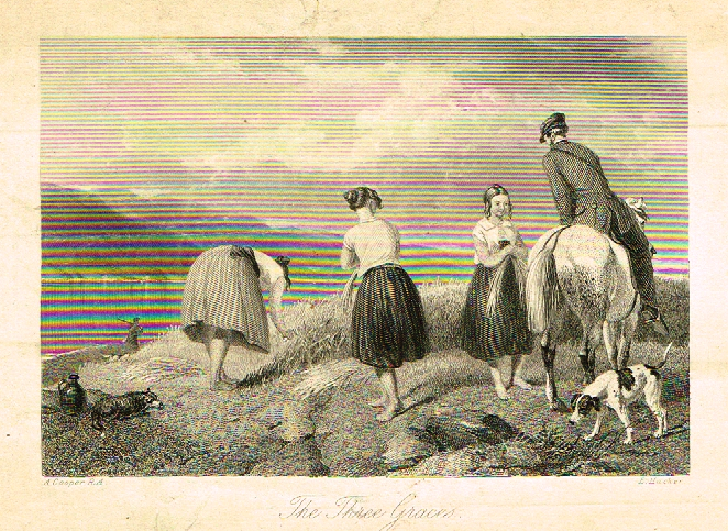 "Sporting Magazine - ""THE THREE GRACES"" - Engraving - c1865"