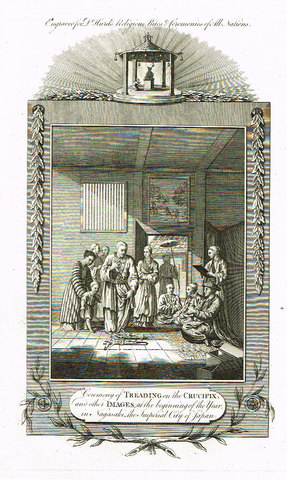 "Dr. Hurd's - ""CEREMONY OF TREADING ON THE CRUCIFIX"" -  Copper Engraving - 1778"