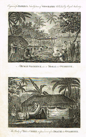 "Dr. Bankes's - ""HUMAN SACRIFICE IN MORAI IN OTAHEITE"" -  Copper Engraving - 1778"