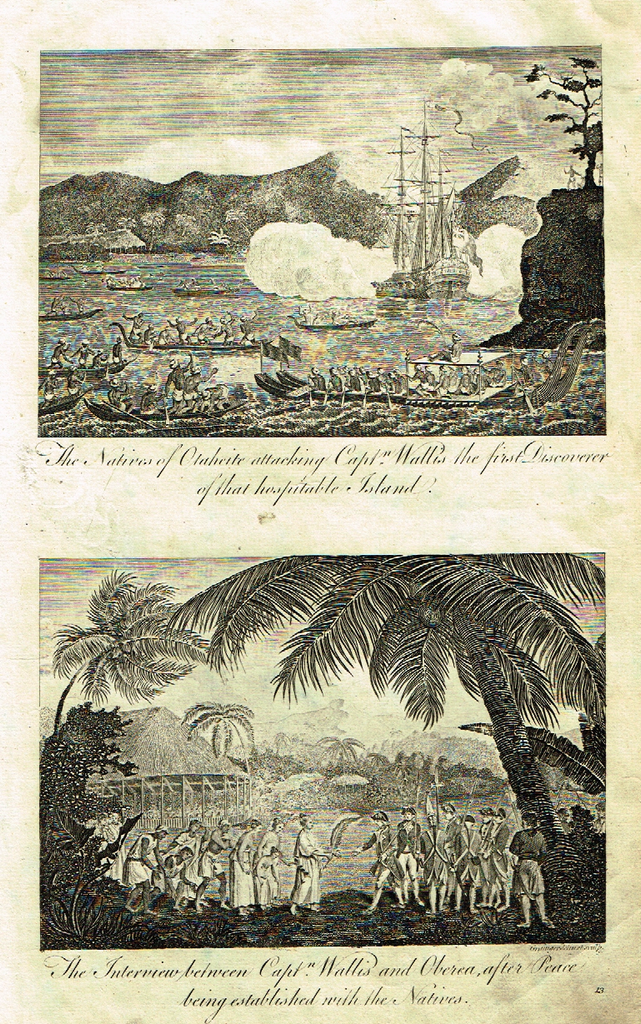 """NATIVES OF OTAHEITE ATTACK CAPTAIN WALLIS"" -  Copper Engraving - c1780 - Sandtique-Rare-Prints and Maps"